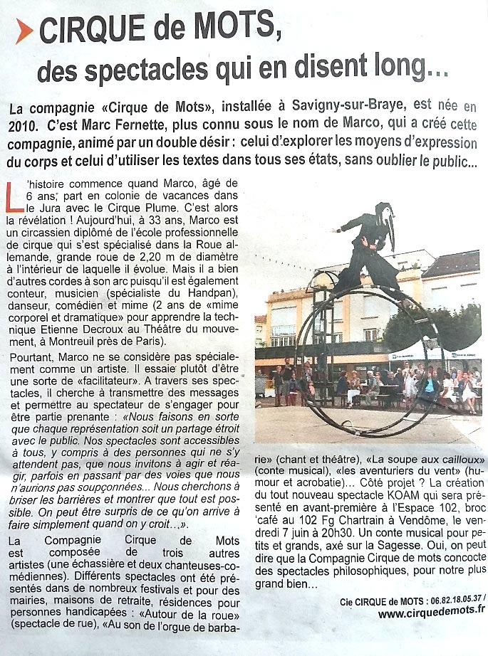 Article sur la Compagnie Cirque de Mots